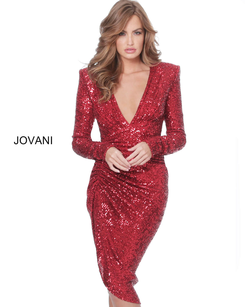 Jovani 04257 long sleeve sequin short dress