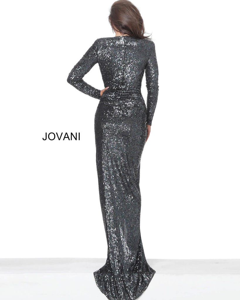 Jovani 04260 deep v neckline long sleeve slit ruching long evening dress