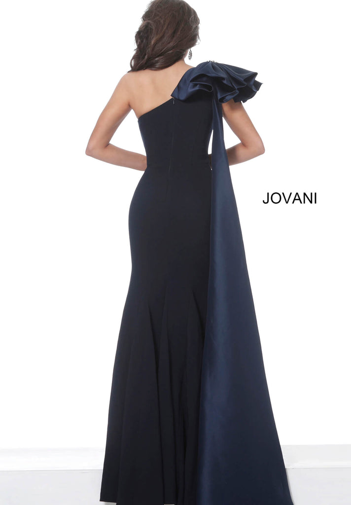 Jovani 1008 one shoulder long fitted dress