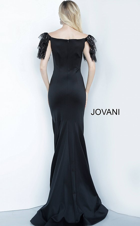 Jovani 1089 black satin long dress