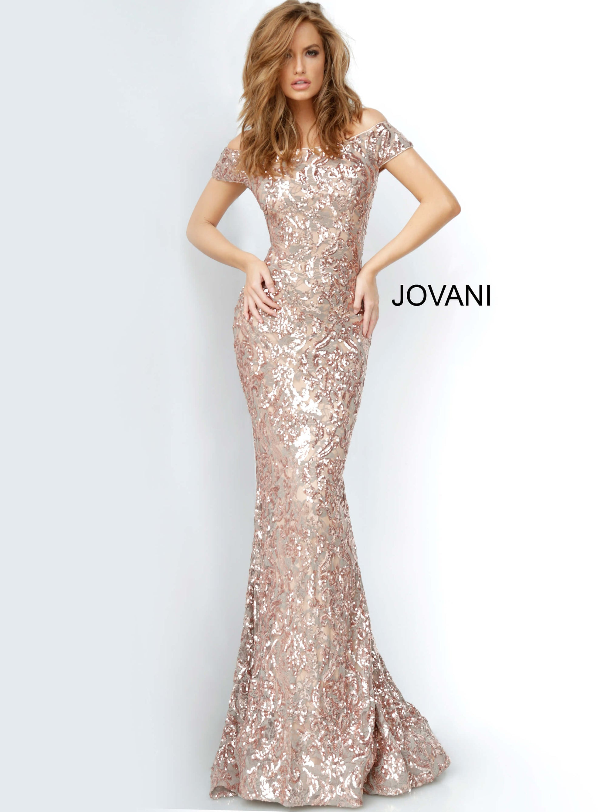Jovani 1122 off the shoulder mermaid long dress