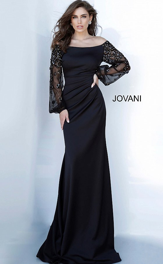 Jovani 1156 long sleeve black evening dress