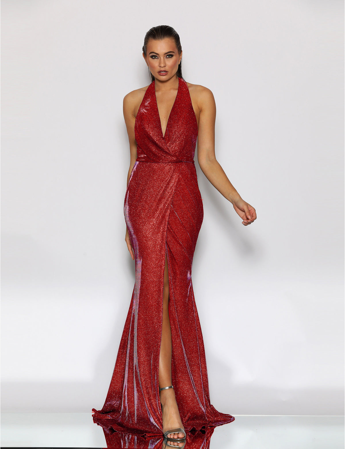 jadore jx2108 red halter dress