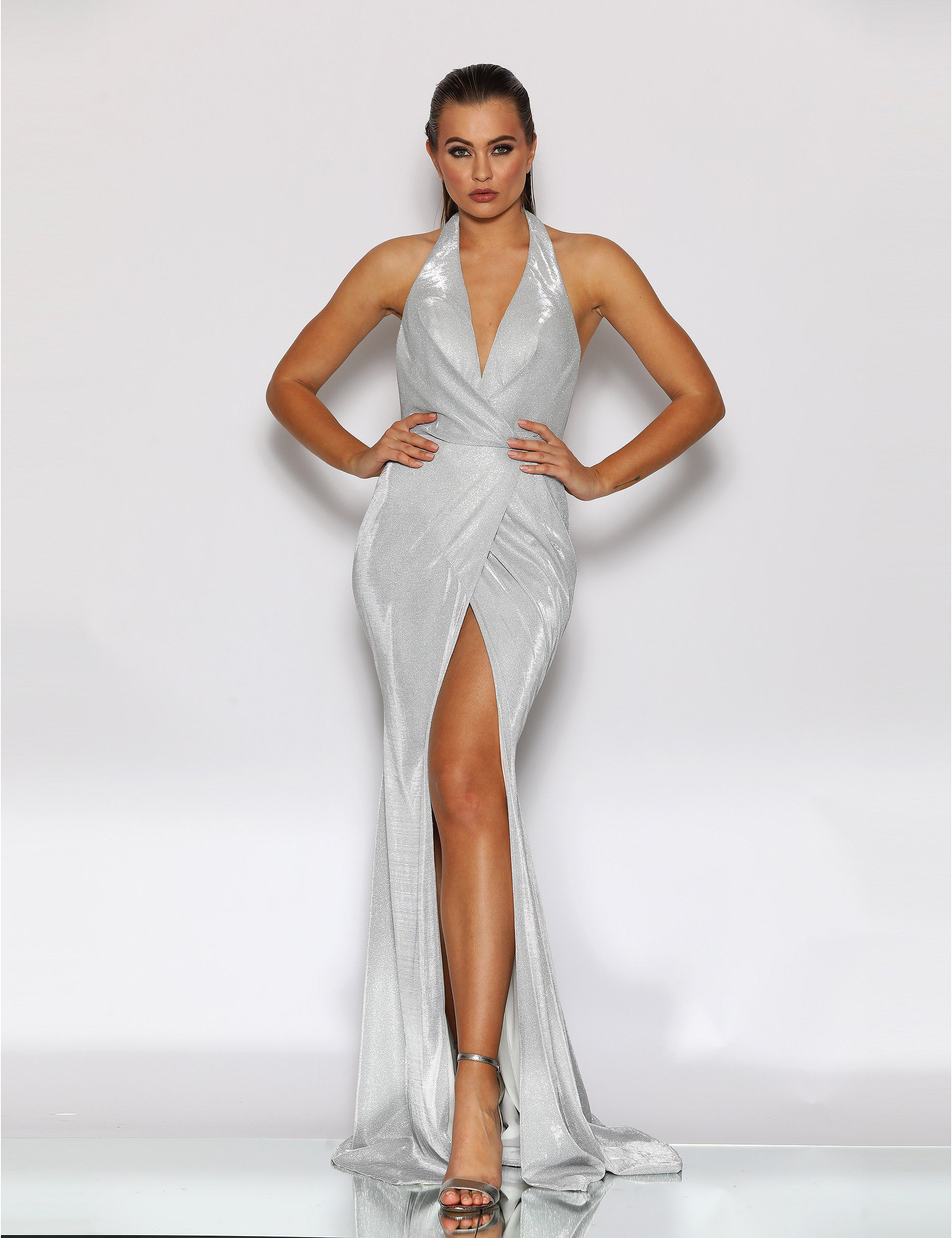 sexy silver halter dress jx2108