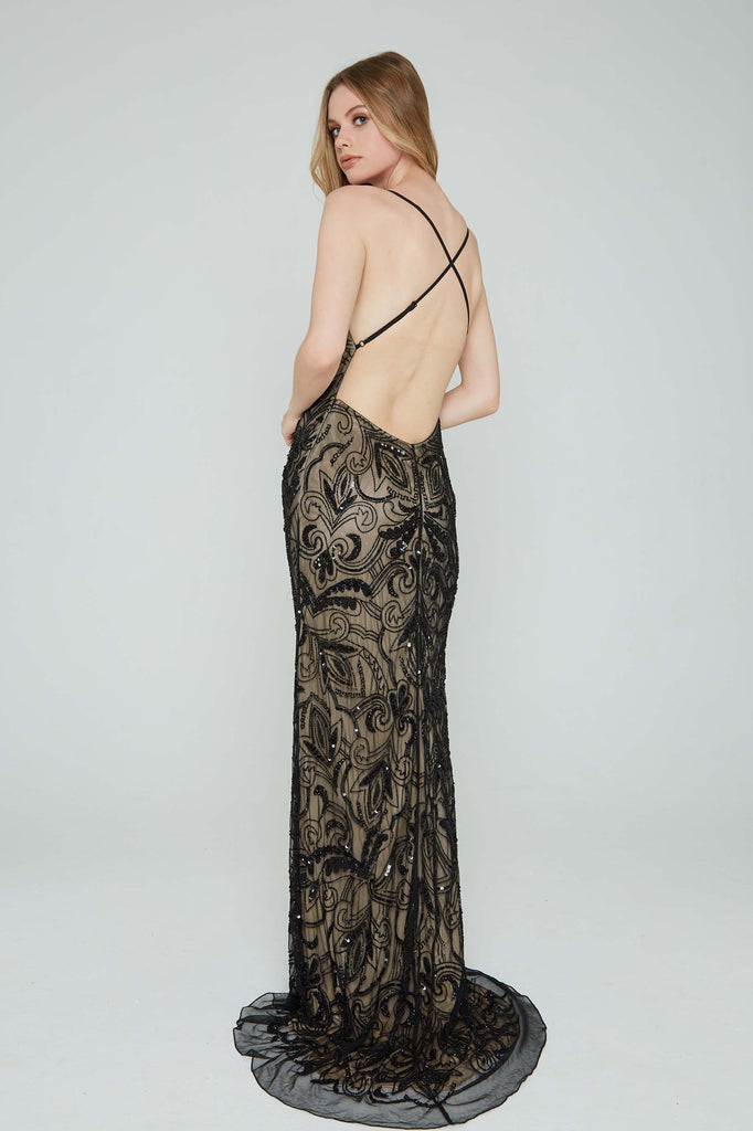 Aleta 196 low back black sequin prom dress