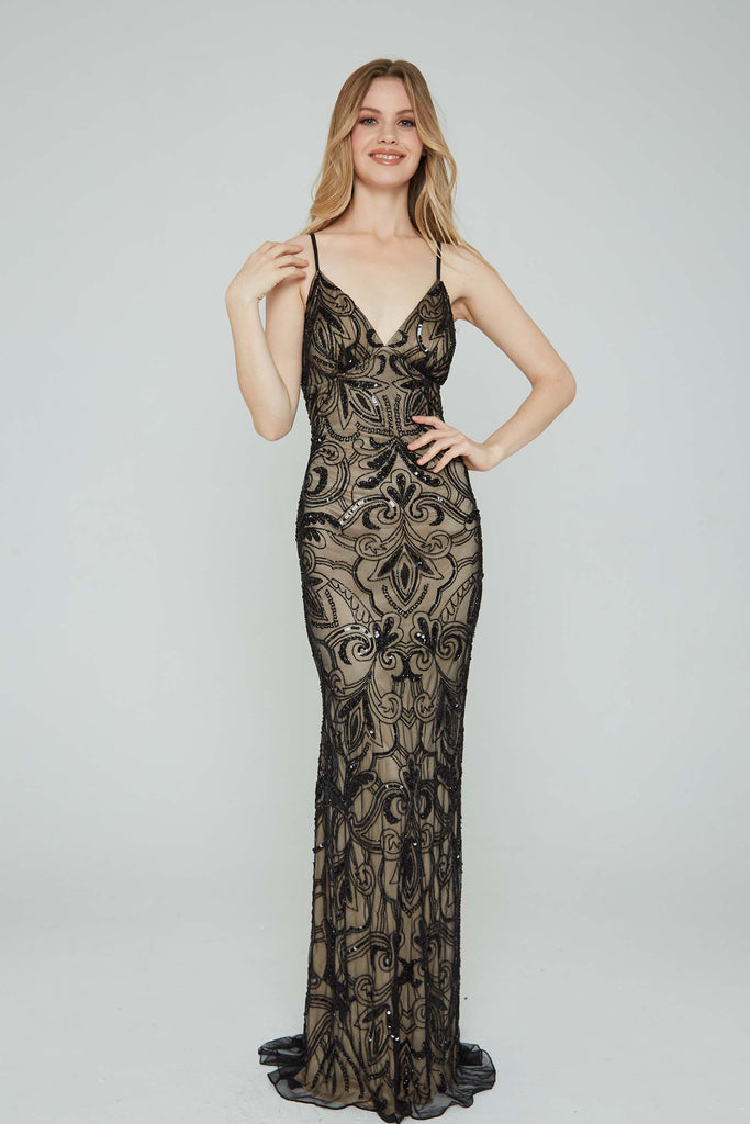 Aleta 196 low back black sequin formal dress