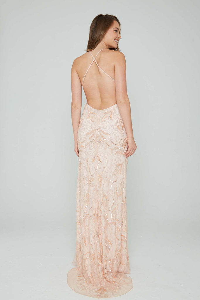 Aleta 196 low back blush pink sequin formal dress