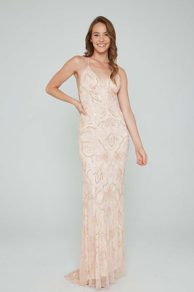 Aleta 196 low back blush sequin formal dress