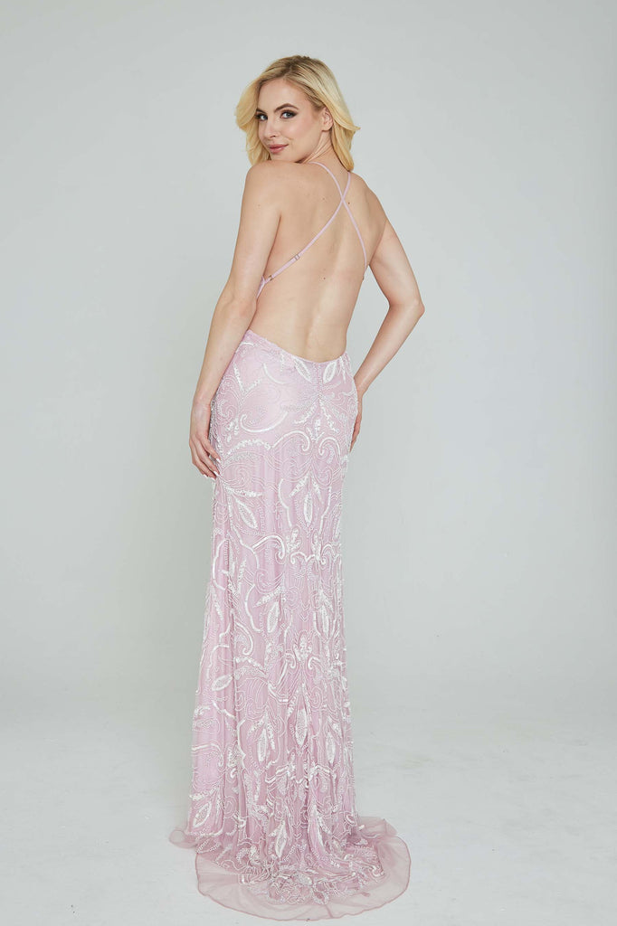 Aleta 196 low back lilac sequin prom dress