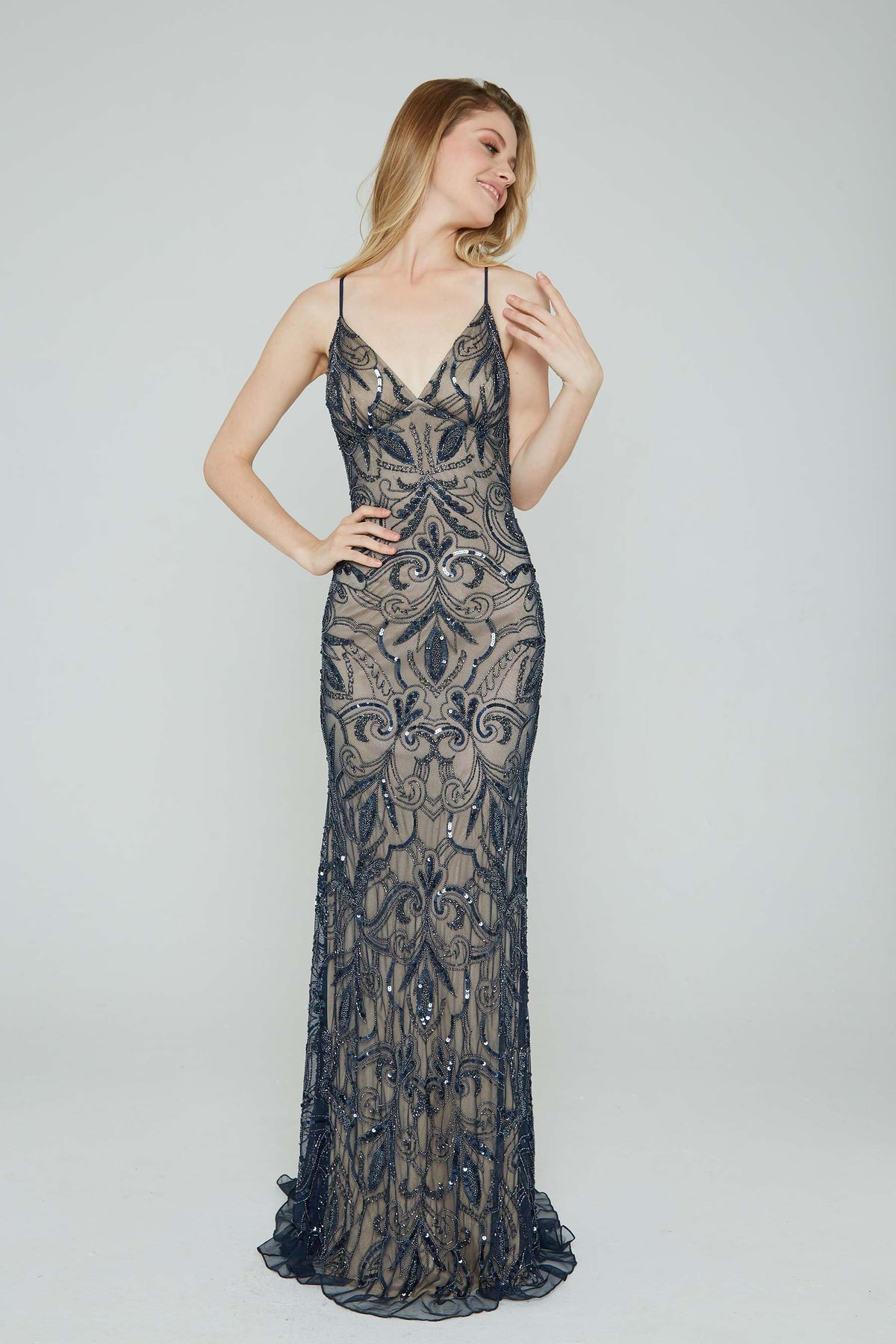 Aleta 196 low back navy sequin prom dress