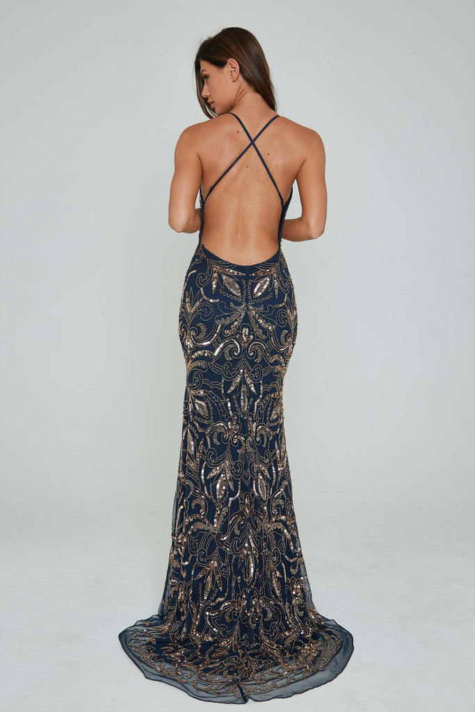 Aleta 196 low back navy and gold sequin formal dress