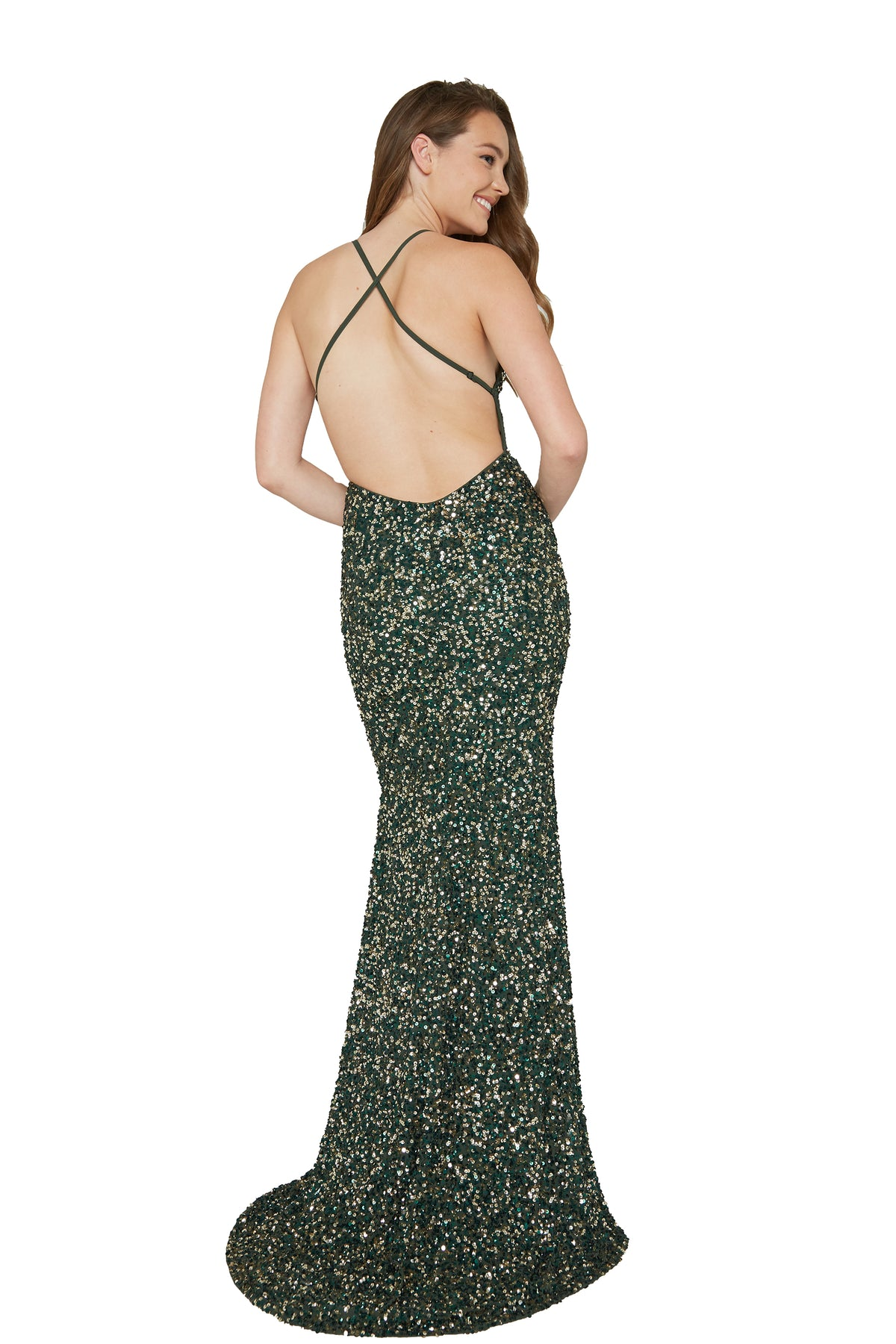 low back green prom dress