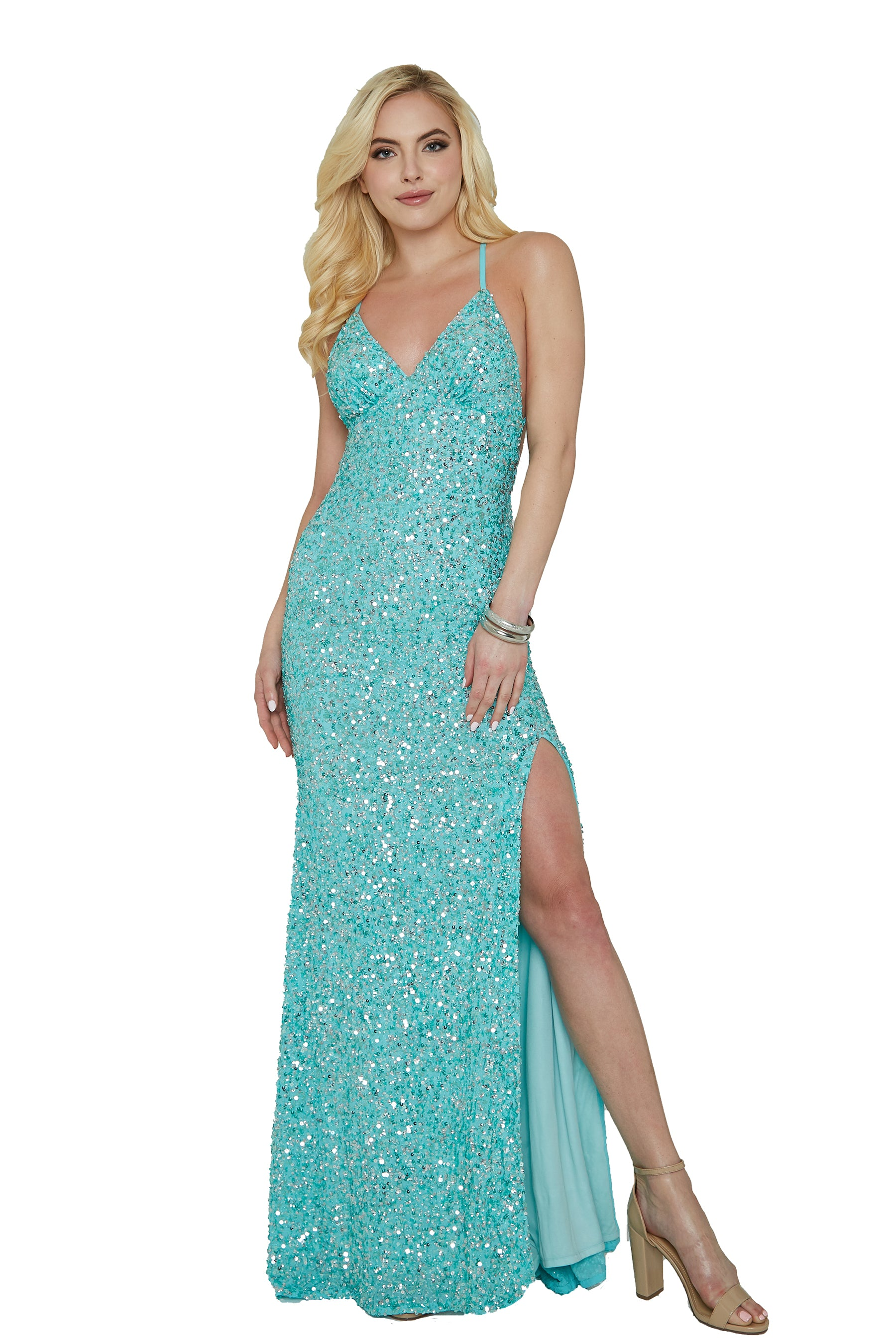Aleta sequins turquoise blue prom dress