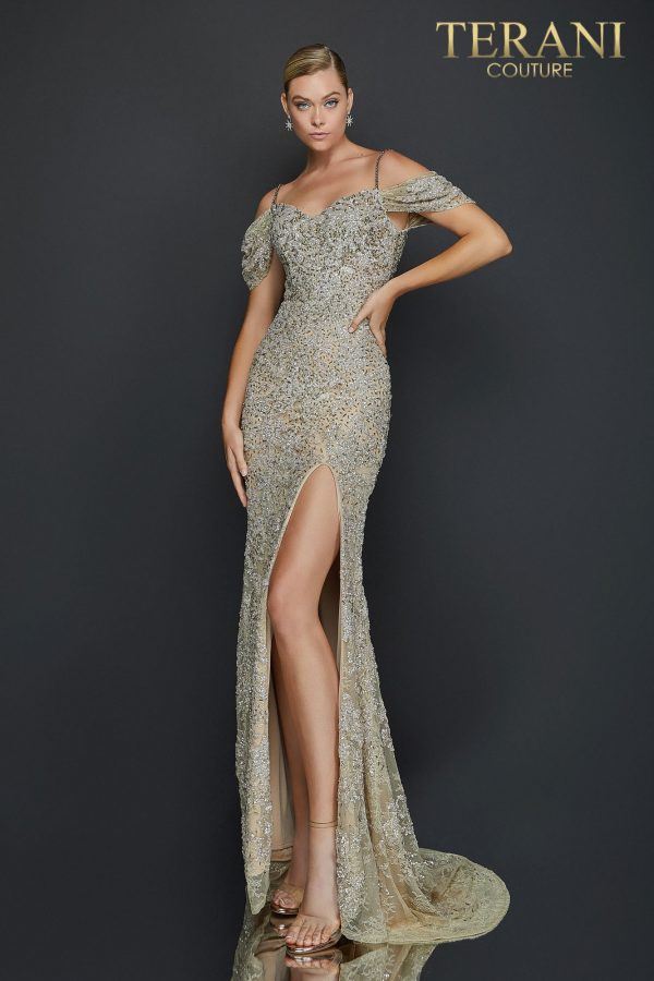 Terani 2011GL2213 silver beaded dress