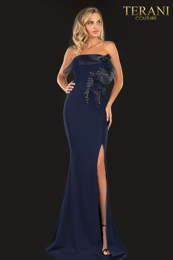 Terani 2021E2818 long navy mother of the bride dress