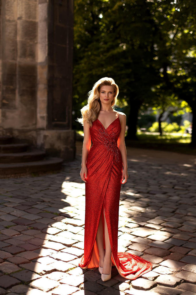 Ricca Sposa 21002 long red evening gown