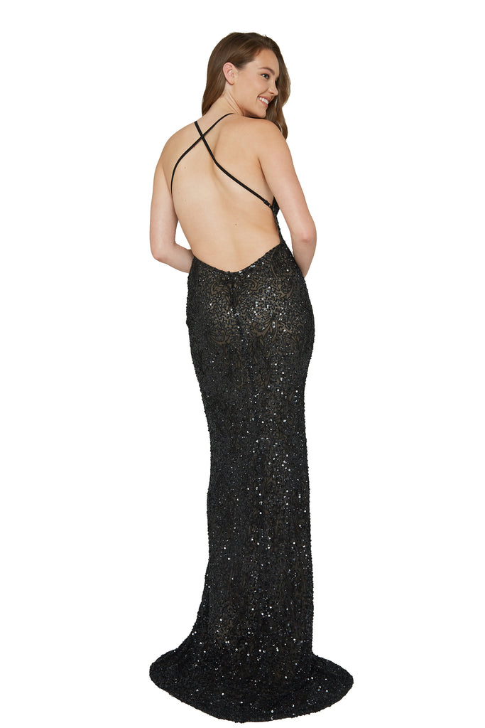 Long back black sequins prom dress