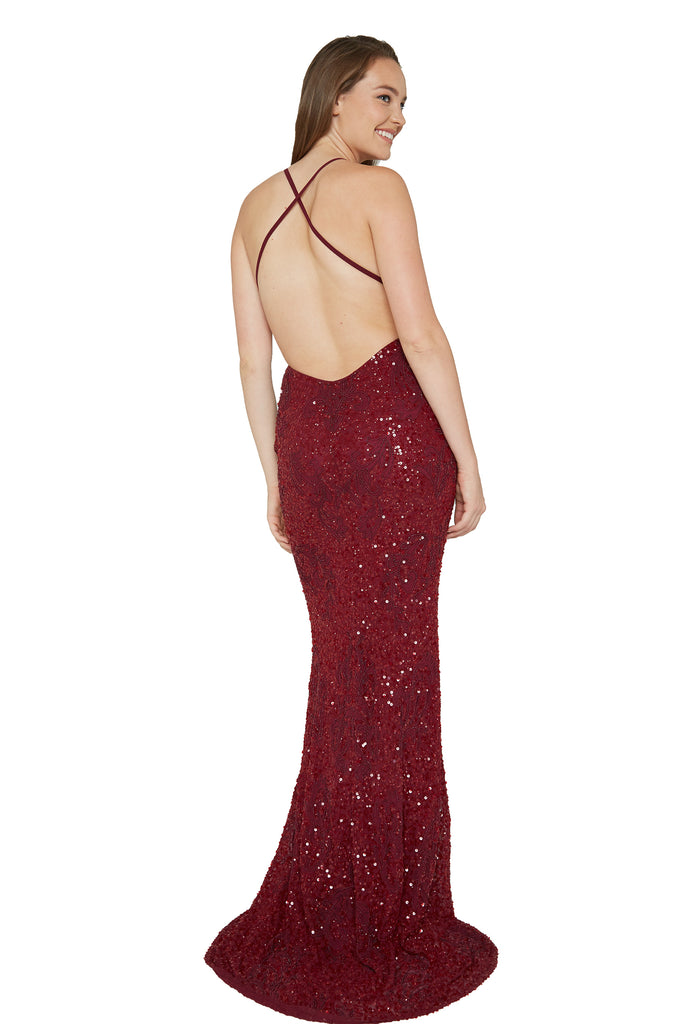red sequins low back prom dress