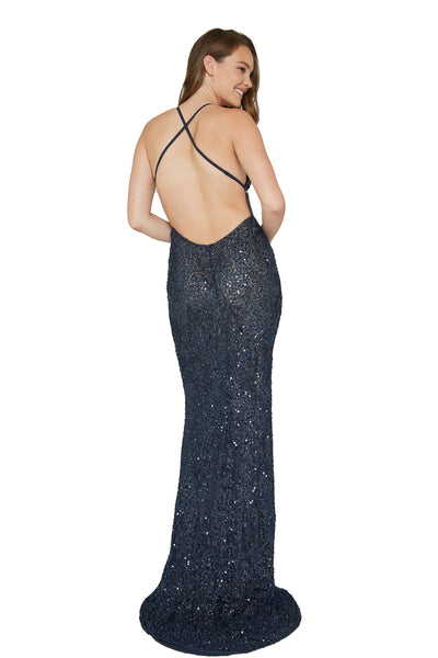 low back sequins prom dress