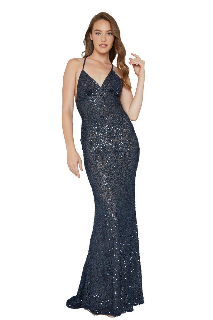top navy nude sequins prom dress with low back