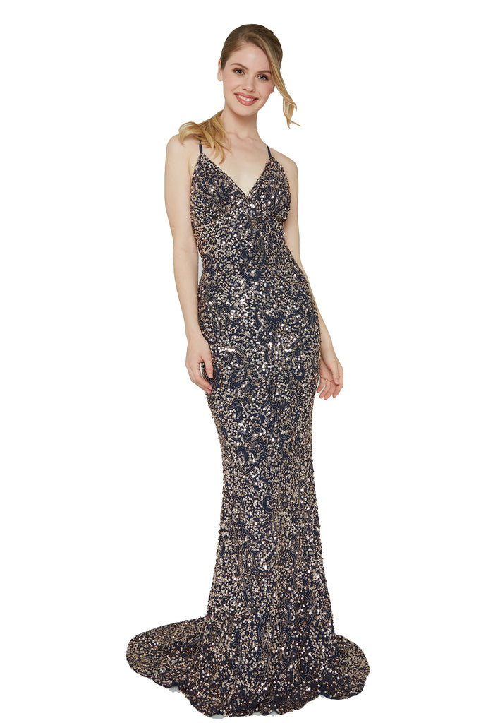Aleta 174 navy blue beaded prom dress