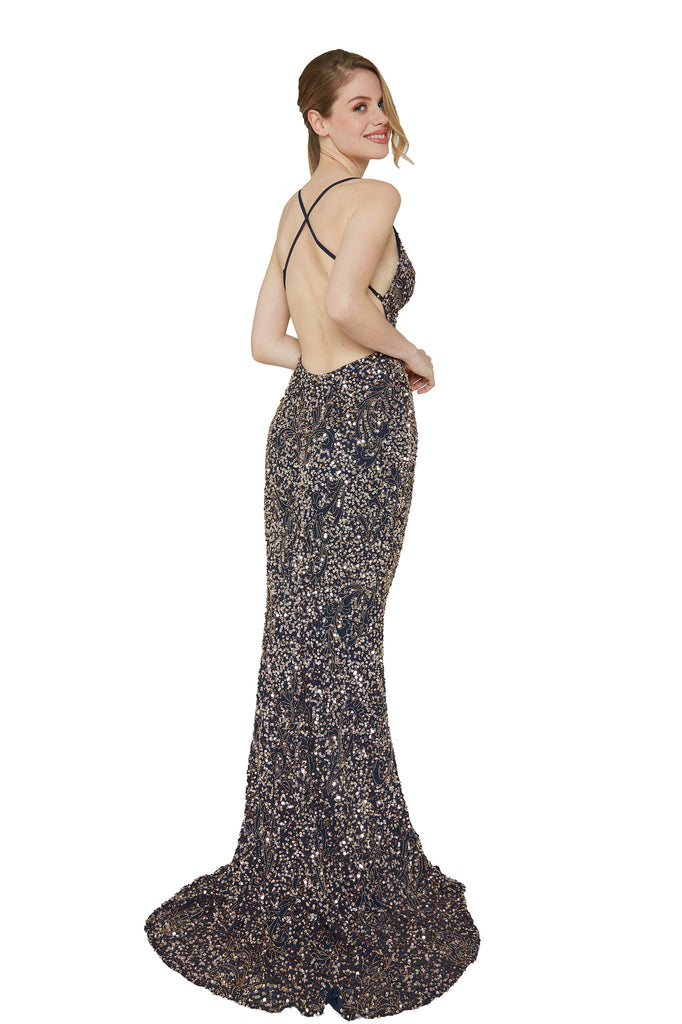 Aleta 174 low back navy blue sequins prom dress