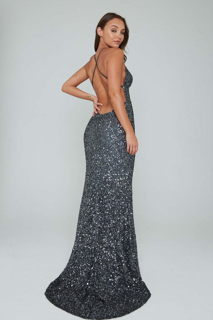 low back silver prom dress