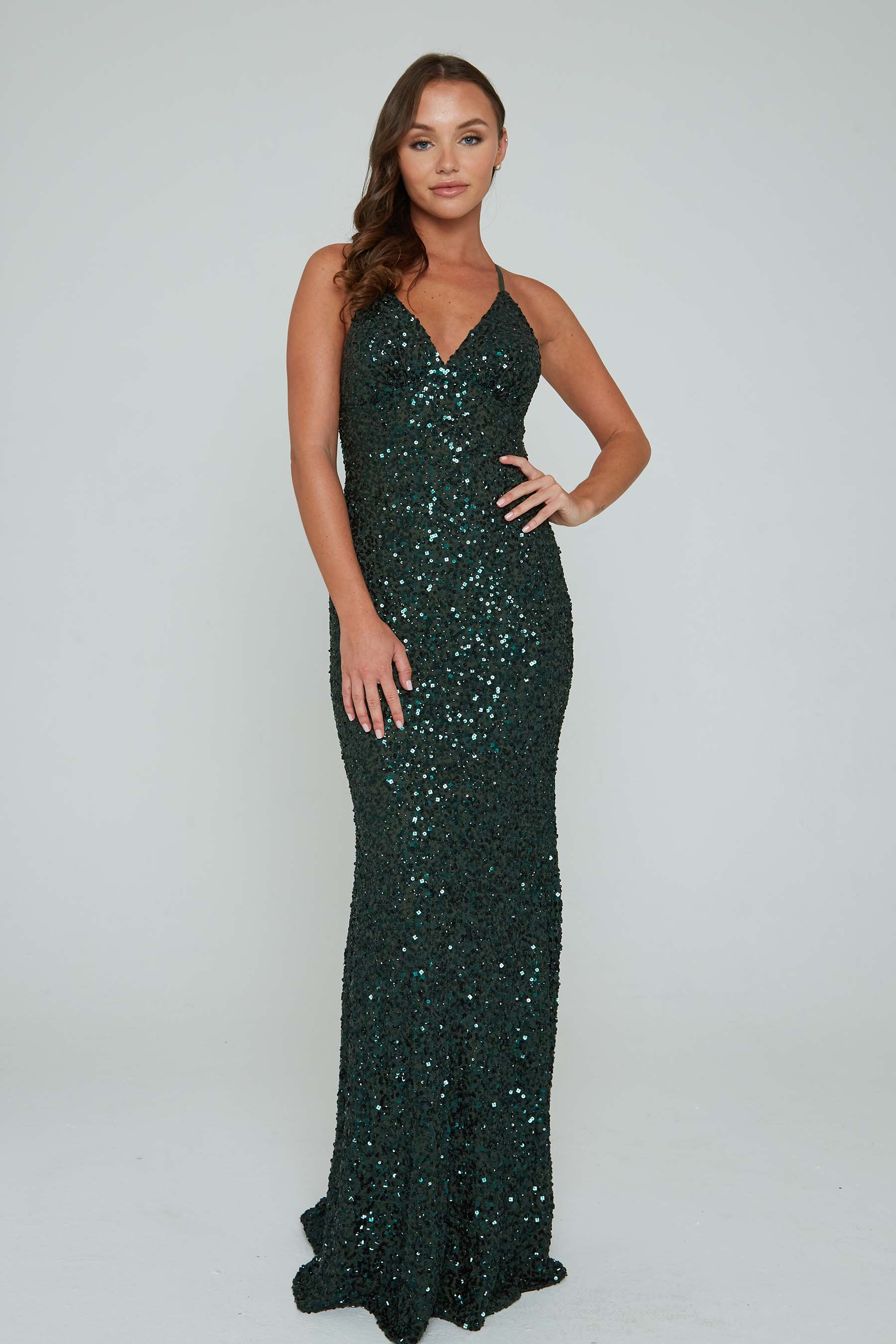 aleta 275 green beaded prom dress