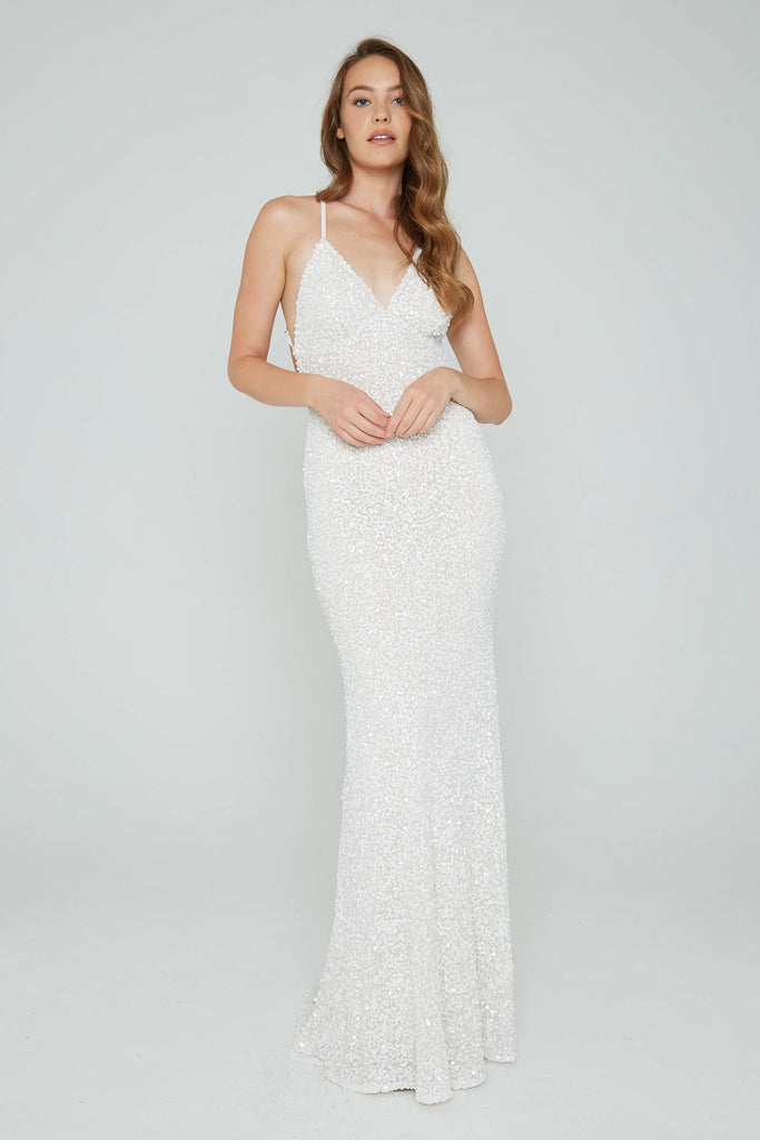 aleta white low back prom dress