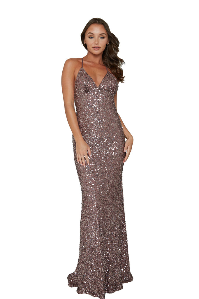 aleta 275 mauve low back sequin prom dress