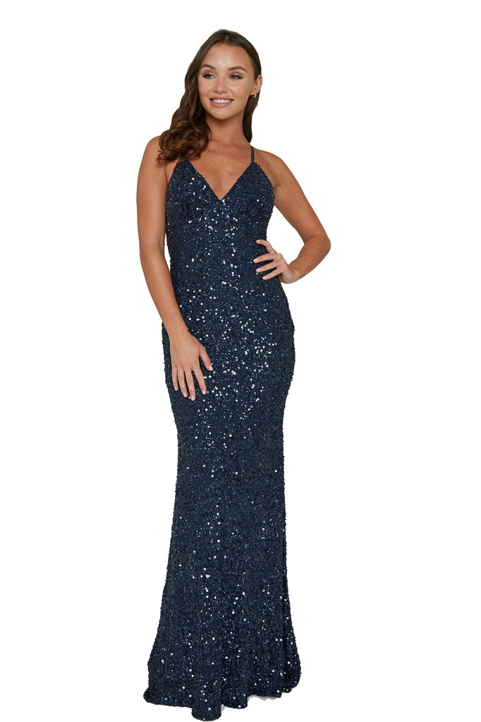 aleta 275 navy blue low back sequin prom dress