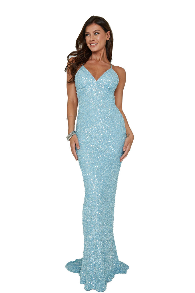 aleta 275 light blue low back sequin prom dress