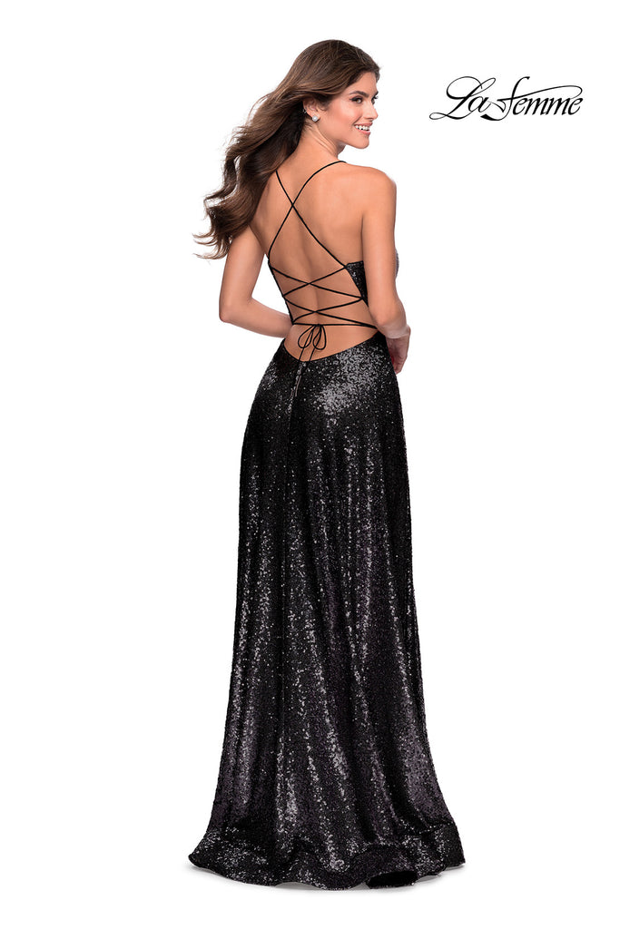 La Femme 28276 black sequins dress
