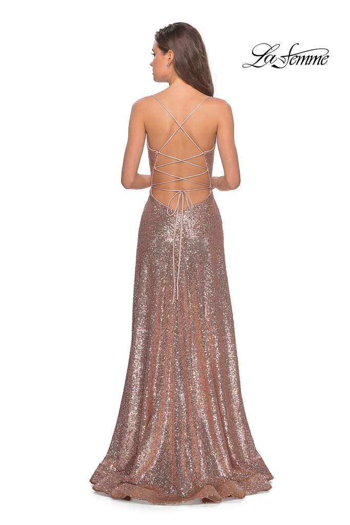 La Femme 28276 rose gold sequins dress