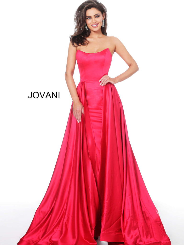 Jovani 3085 red scoop neck pageant gown with overskirt