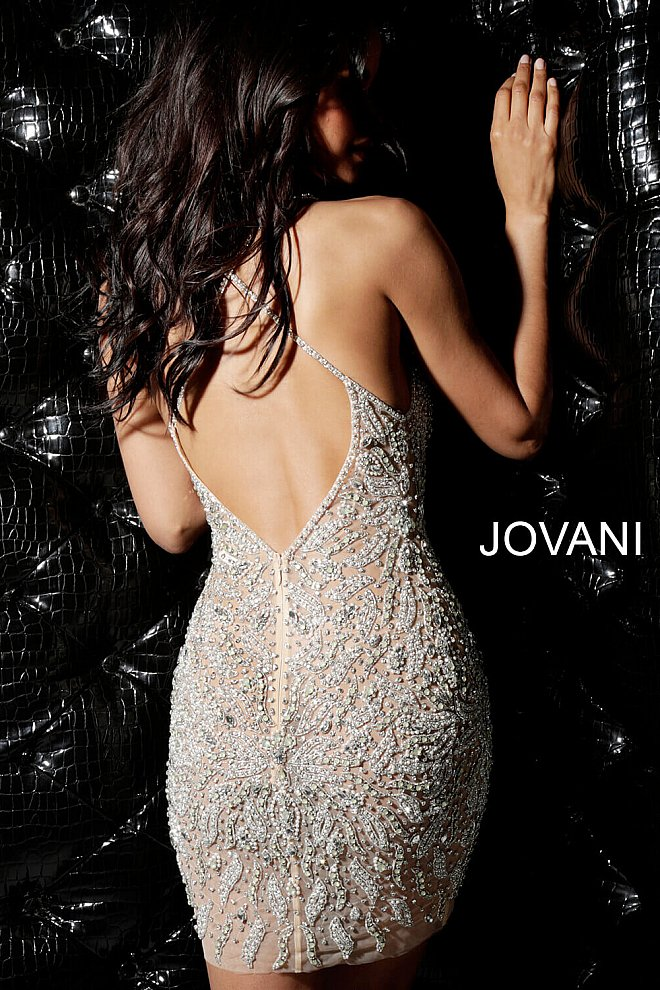 Jovani 40928 silver beaded sexy dress