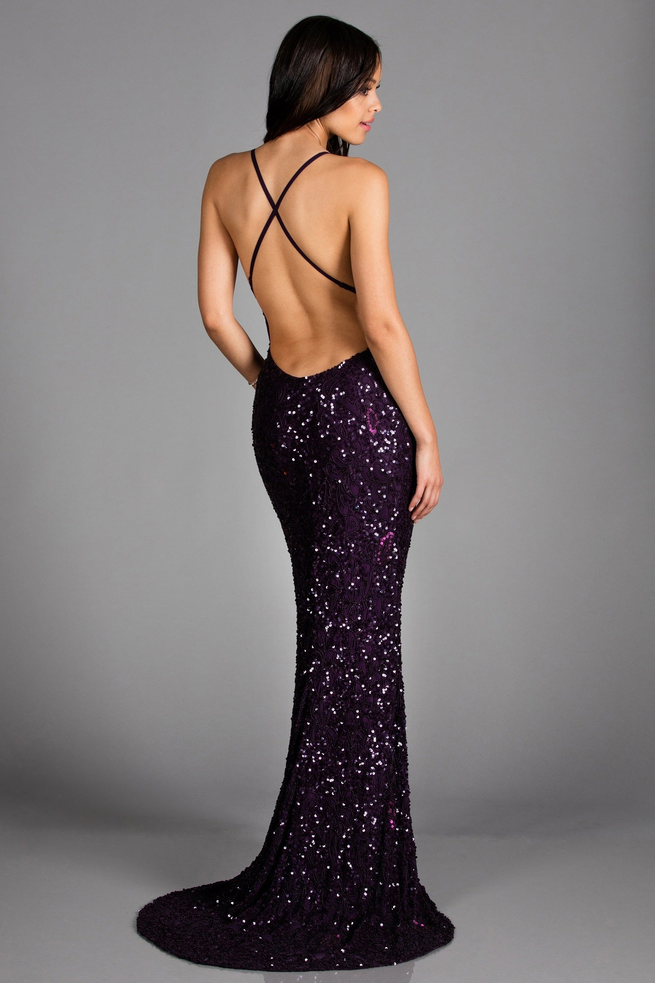 purple sequin low back dress