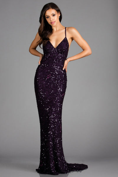Scala 47542 eggplant beaded low back dress