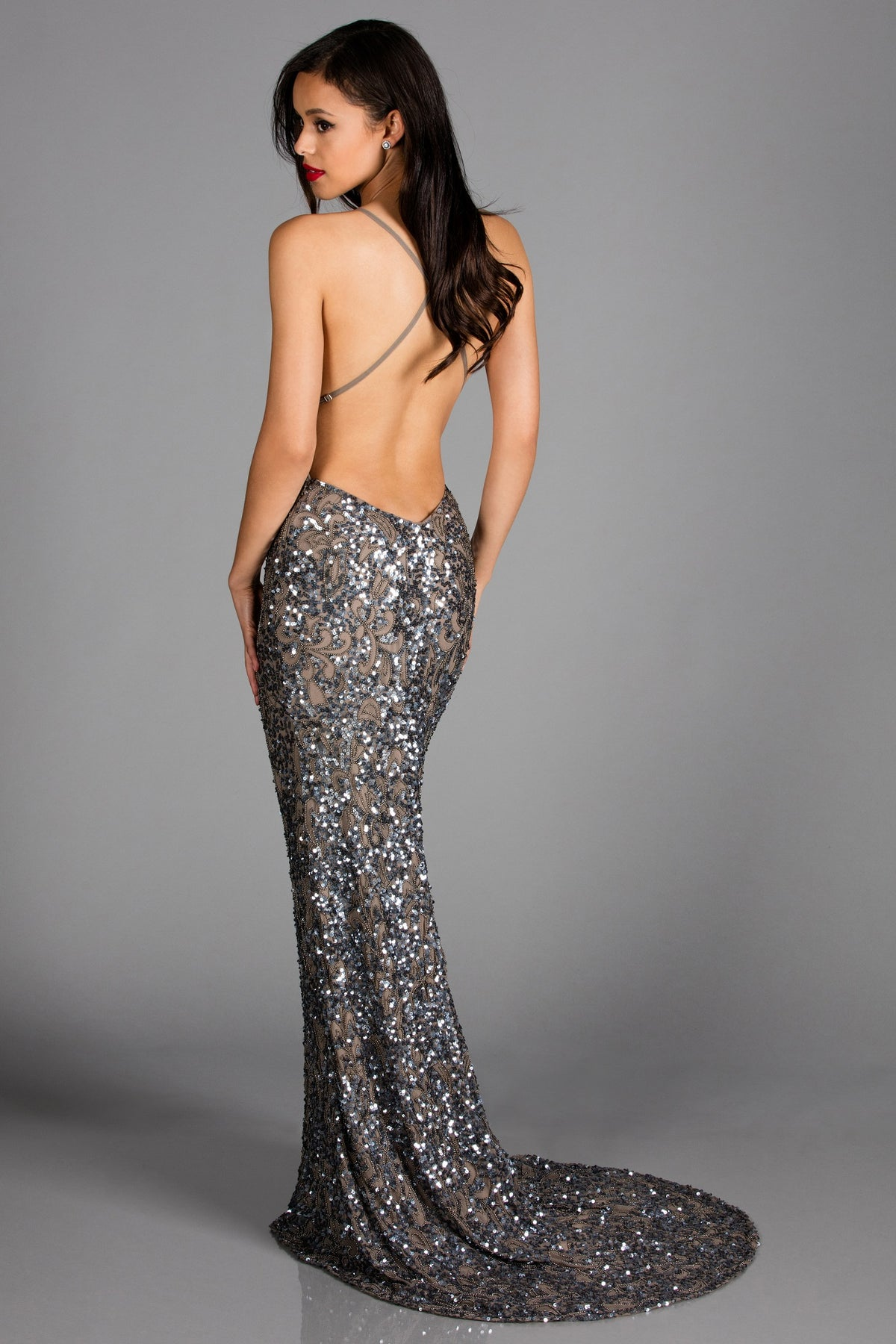 sexy low back silver sequin dress