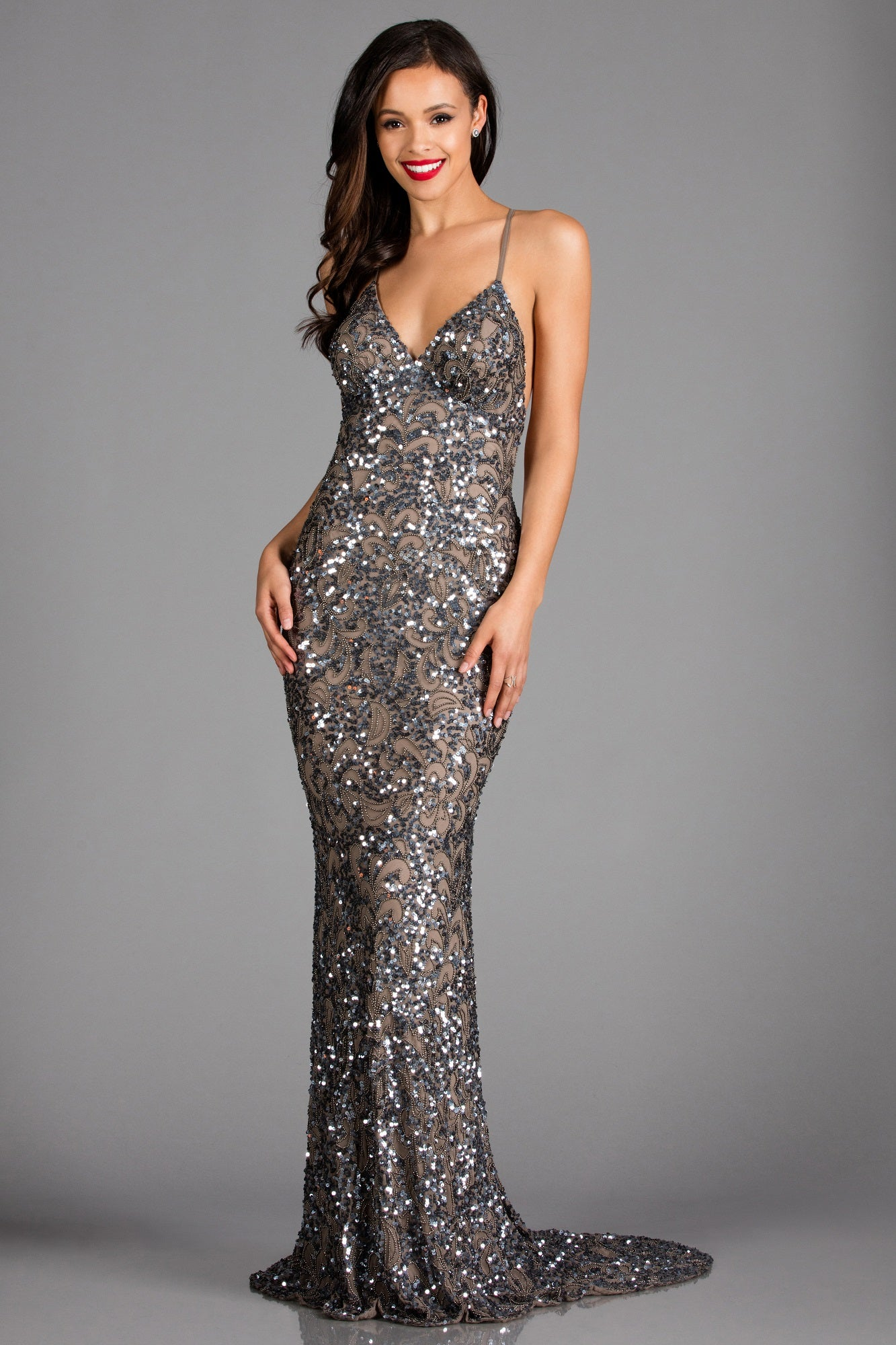 Scala 47542 silver beaded low back dress