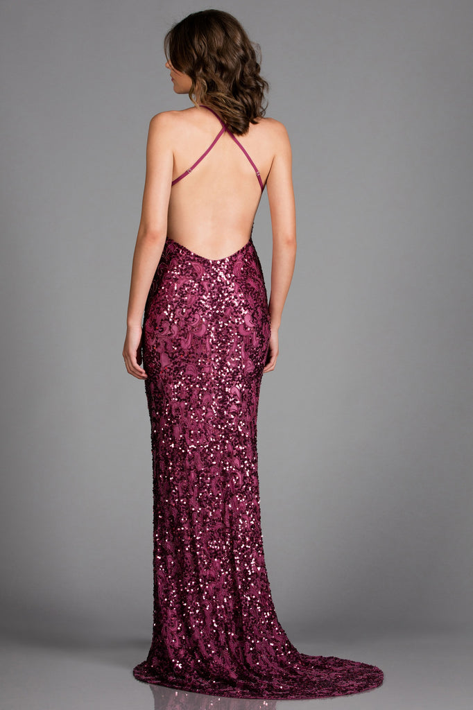 Scala 47542 pink beaded low back dress