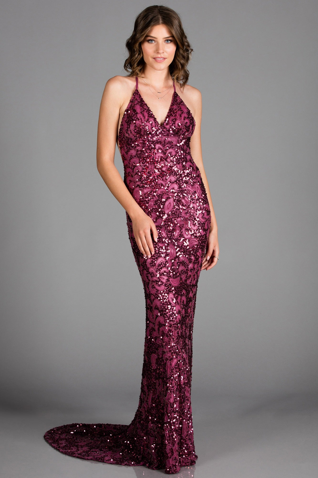 Scala 47542 sexy fitted low back sequin dress