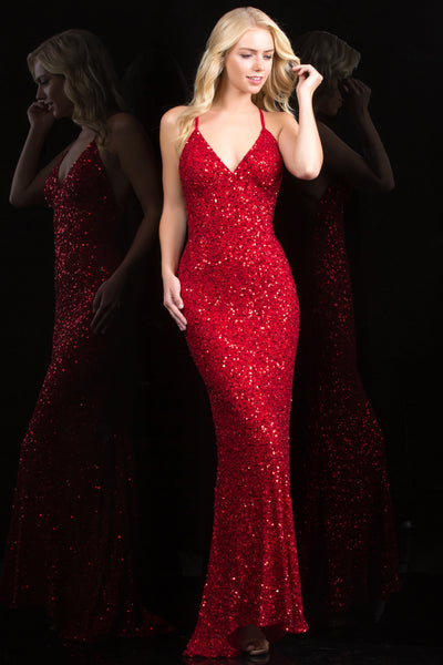 Scala 47551 silver low back sequin evening gown and prom dress - Mia ...