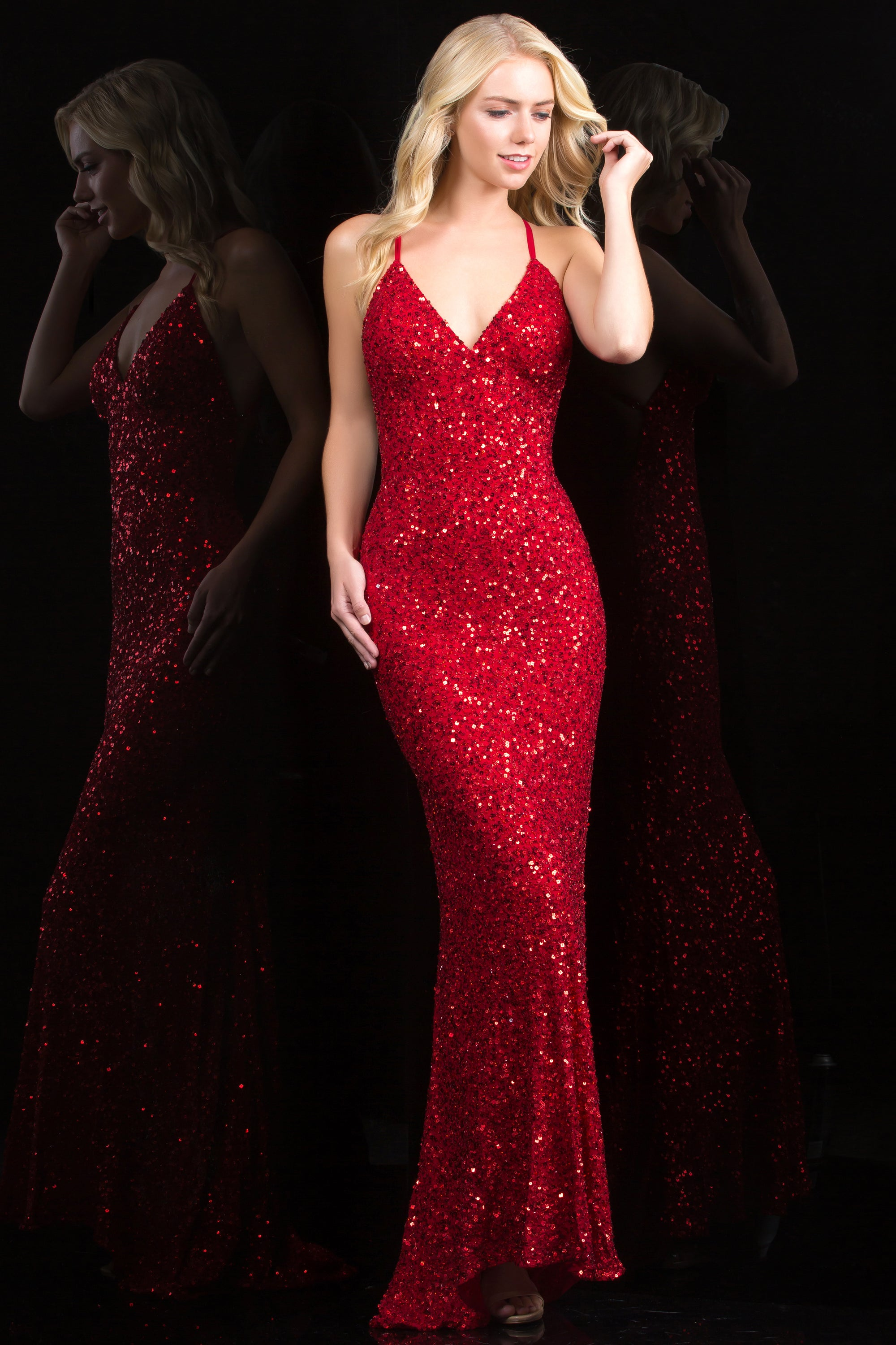 af357ae6c5d Scala 47551 red low back sequin evening gown and prom dress - Mia ...