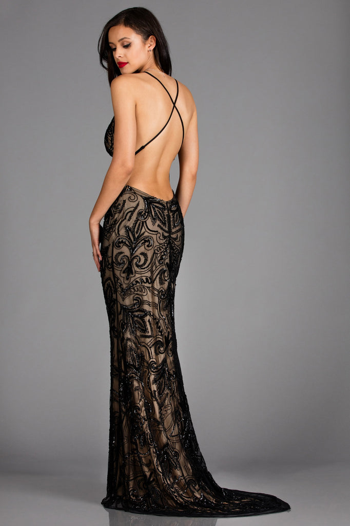 sexy low back black sequin dress