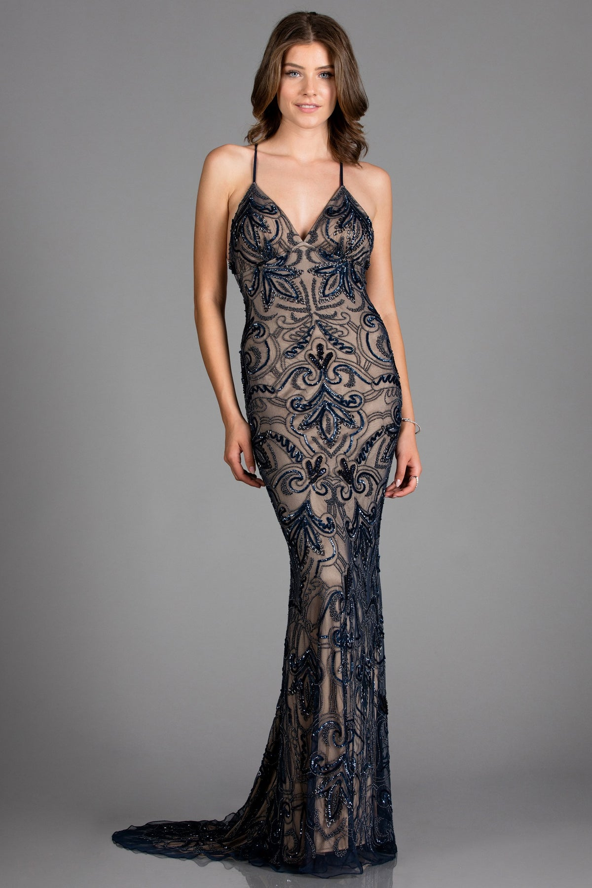 Scala 48557 navy blue low back sequin dress