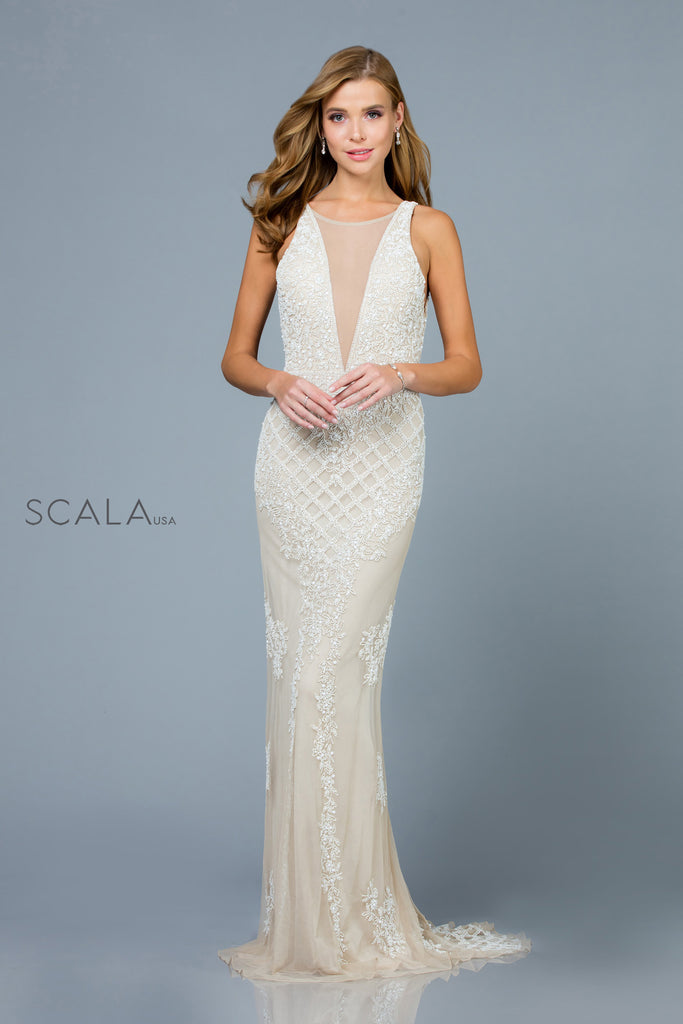 Scala 48787 beaded white dress