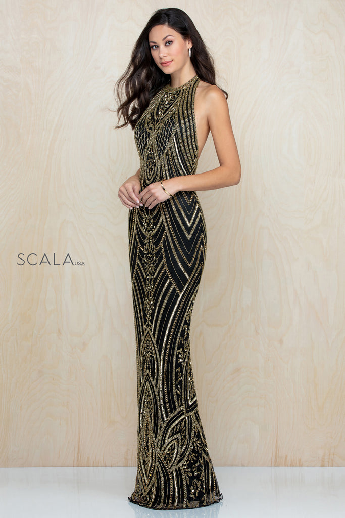 Scala 48793 halter beaded long dress