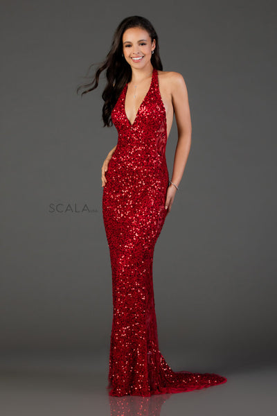 scala 48959 red low back dress