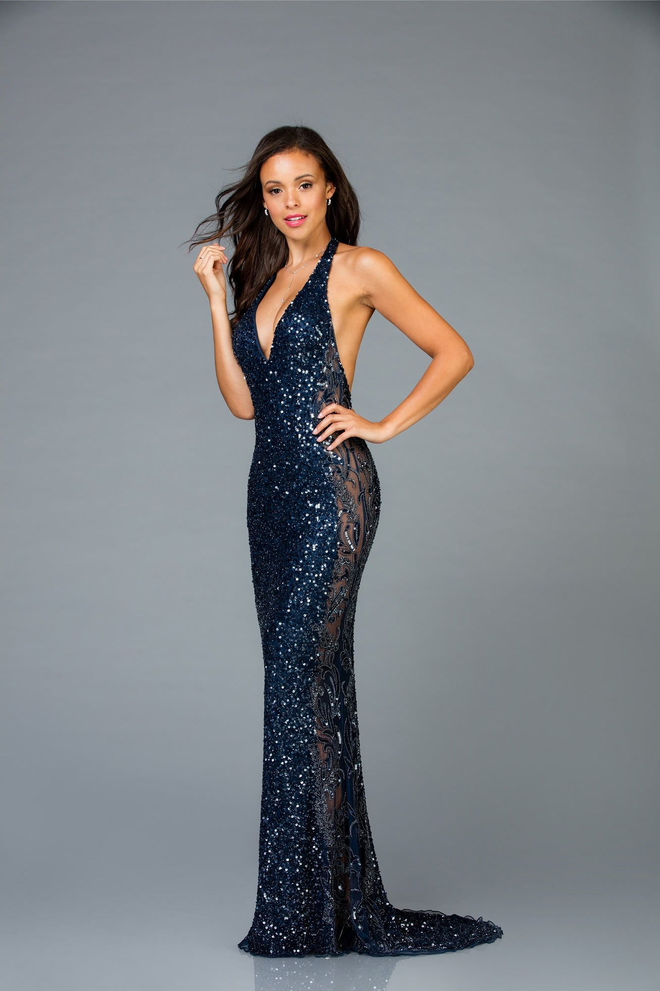 d5baa1b1603d Scala 48959 sequins beaded halter long dress with a low back - Mia ...
